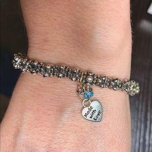 Links bracelet with aquamarine (MARCH) birthstone